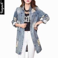 Women Jeans Jacket 2016 Spring Autumn Casual Turn Down Collar Button Full Sleeve Frayed Long Loose Coat Jaqueta Feminina WWJ158