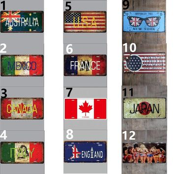 Shabby Chic Wall Sign Country Australia Mexico Canada Italy France Japan Painted License Plate Sign Home Bar Decor Retro Vintage