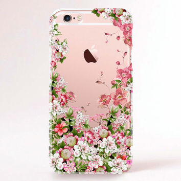 Clear Transparent iPhone 6s case, iPhone 6s plus case, iPhone 6 Case, iPhone 6 Plus Case, iPhone 5S Case, iPhone 5C Case - Spring flowers