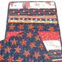Patriotic 4th of July Memorial Day Table Runner Quilt - Red, White, Blue - Stars, Stripes, Flag