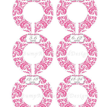 Custom Closet Dividers Baby Closet Dividers Girl Hot Pink Damask Baby Shower Gift Closet Clothes Organizers Baby Girl Nursery 013