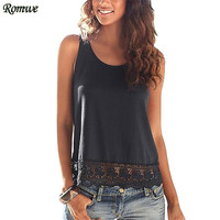 ROMWE Fashion Tops 2017 Women New Arrival Summer Plain Round Neck Sleeveless Lace Trimmed Casual Fitness Tank Top