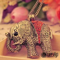 Antique Elephant Pattern Necklace