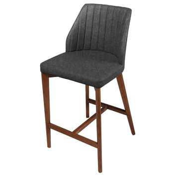 Tory Fabric Counter Stool Walnut Legs, Night Shade