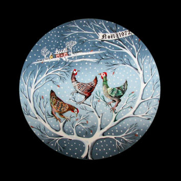1972 Haviland Collectible Plate THREE FRENCH HENS #3 with Box and Certificate