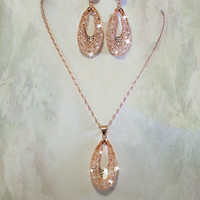 18k Rose Gold Necklace w Swarovski Crystals and Cubic Zirconia