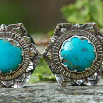 Nickle Silver Lotus Ebony plugs with Turquoise