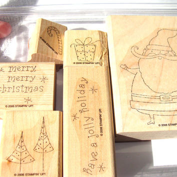 Jolly Holiday Stampin Up Retired Christmas Stamp Set of 6 Santa Trees Gift Candy Cane