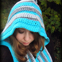 Crochet Scoodie, Hooded Scarf, Hooded Cowl, Scarf With a Hood