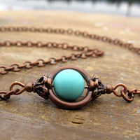 simple Turquoise necklace copper jewelry