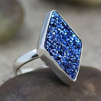 Titanium Druzy, Sterling Silver Ring - Adjustable (D091)