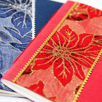 POINSETTIA - Christmas Holiday Mini Notebook - Set of 2 - Stocking Stuffer - A6 Size - Free Shipping