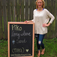 Sand Long Sleeve Scoop Neck Piko Shirt On Sale | Overstock Boutiques