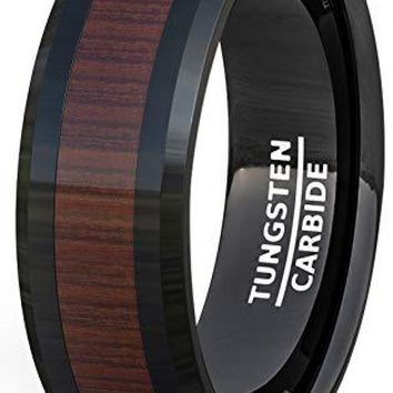 Black Tungsten Wedding Band For Men With Wood Pattern Inlay Beveled Edge Comfort Fit - 8mm