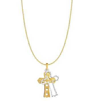 """14k Yellow Gold Double Cross Charm Necklace, 18"""""""