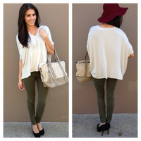 Cream Oversized Poncho Sweater Top