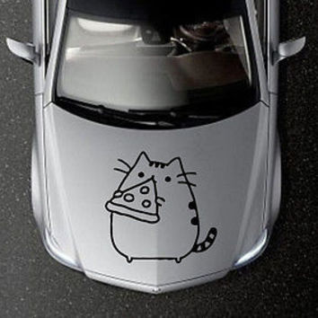 CAR HOOD VINYL DECAL ART STICKER GRAPHICS FUNNY CAT KITTEN WITH PIZZA OS596