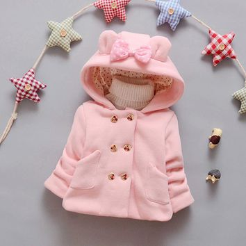 Girls autumn and winter coat 0-2 years old infant baby girl cartoon double-breasted jacket baby girls hooded outerwear coat