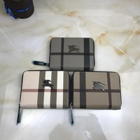 """Burberry"" Unisex Small Purse Classic Multicolor Tartan Stripe Short Section Zip Double Layer Wallet"