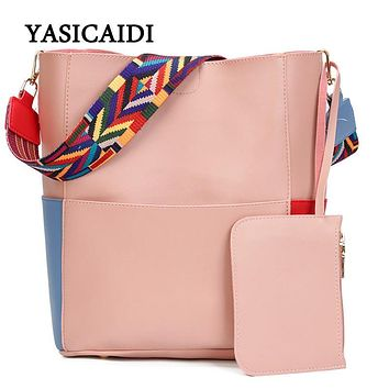 Striped Casual Tote Women Shoulder Bags Fashion Pu Leather Ribbon Shoulder Messenger Bags Famous Designer Brand Bags