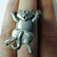 "Up-cycled Vintage Ring - ""The Wiggly Happy Kitty"" - Statement Ring - Cocktail Ring"