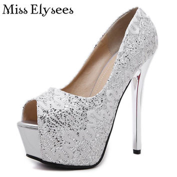 14cm High Heels Platform Pumps Open Toes Women's Shoes Spring Lace Design Solid Color Bling Sexy Thin Heels Shoes Woman