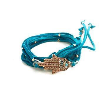 Back Stage Pass Wrap Bracelet in Turquoise and Gold