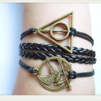 Harry potter--Charm Bracelet Hunger games letty retro inspired Mockingjay bird with bronze arrows bracelet-Katniss's arrow charm