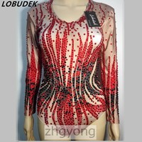 Full diamond female leotard bodysuit jumpsuit sexy nightclub bar red stones Rompers Crystals groom slim stage costume party