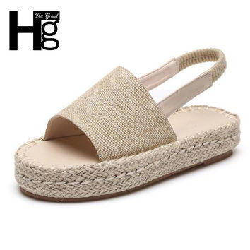 HEE GRAND Brand Hemp Women Sandals Breathable Casual Summer Shoes For Woman Platform Plaited Sandals XWZ4261
