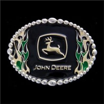 John Deere Black w/ Flames Belt Buckle