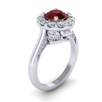 Skull Engagement Ring Silver and Ruby