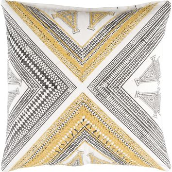 Rufiji Throw Pillow Yellow, Brown