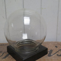 Vintage Round Glass  Specimen Apothecary Cloche Display  screw bottom -  Glass globe Aquarium Vase