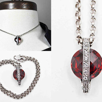 Vintage Sterling Silver Red Garnet Pendant Necklace, Faceted, Clear Tourmaline, Rolo Chain, Belcher, Unique, Beautiful! #c375 c385
