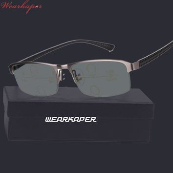 WEARKAPER Progressive Multifocal glasses Transition Sunglasses Photochromic Reading Glasses Men Points for Reader Near Far sight