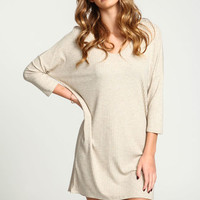 TAUPE RIBBED KNIT TEE DRESS