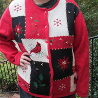 red holiday sweater, red sweater, red cardinal, tacky christmas sweater, tacky christmas, tacky holiday sweater, tacky holiday, Ugly sweater