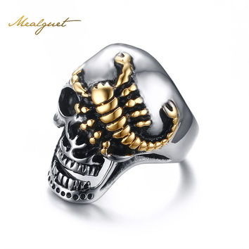 Meaeguet 30MM Fashion Men's Stainless Steel Gold Crawling Scorpion Skull Ring Biker Punk Jewelry Size 8-12
