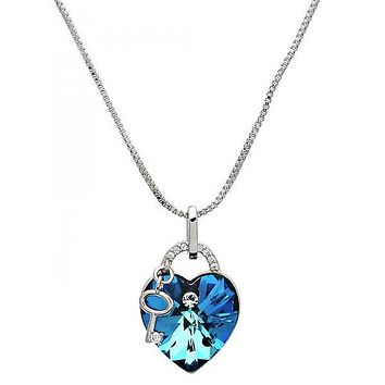 Rhodium Layered 04.239.0015.16 Fancy Necklace, Heart and key Design, with Bermuda Blue Swarovski Crystals and White Micro Pave, Polished Finish, Rhodium Tone