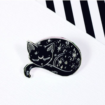 Mystical Cat Enamel Pin // Loll3, sleeping kitty, black cat pin, spooky, halloween // EP141