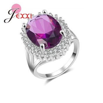 JEXXI Fashion 925 Sterling Silver Rings For Women Oval Big Crystal With Micro Stones Arround Wedding Engagement Ring For Girl