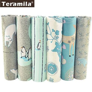 Teramila Ice Animals Design Textile Bedding Twill DIY Patchwork Telas Sewing Material Cotton Quilting Fabric Tissu 6 PCS/lot