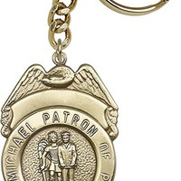 Antique Gold St. Michael the Archangel Keychain. Police Officers/EMTs