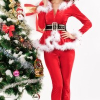 Santa Claus Costume Hooded Outfit Set