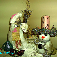 Shabby chic, Christmas decor., winter scene cotton batting vintage young girl & snowman on altered antique plate, diorama