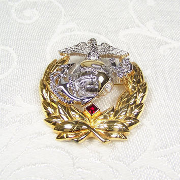 Vintage U.S. Marine Corps Brooch Pin Sterling Silver 18K Gold Ann Hand