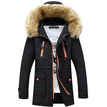 2017 New Fashion Detachable Fur Collar Veste Hiver Homme Waterproof Slim Hooded Stylish Winter Jackets Men