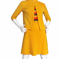 "Vintage 60s Mod Style Dress and Blazer Cardigan Matching Set | Women's Medium, 28"" Waist 