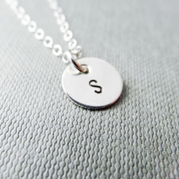Silver initial necklace, stamped letter necklace, 925 sterling silver, dainty silver necklace, personalised necklace, monogram necklace,